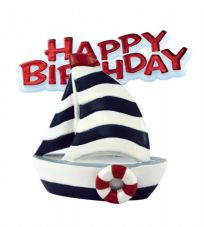 Sail Boat Resin Topper with Happy Birthday Motto